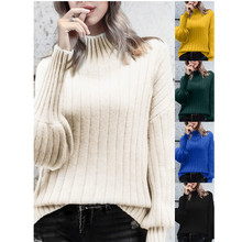 loose sweater womens sweaters Women's High Collar Puff Sleeve Loose Pullover Sweater Knit Jumper Tops Y827 plunging neckline puff sleeve wrap sweater