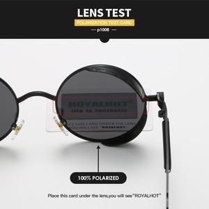 Image 5 - Мужские и женские солнцезащитные очки RoyalHot, круглые поляризационные очки в ретро оправе, затемненные очки для вождения, p1008