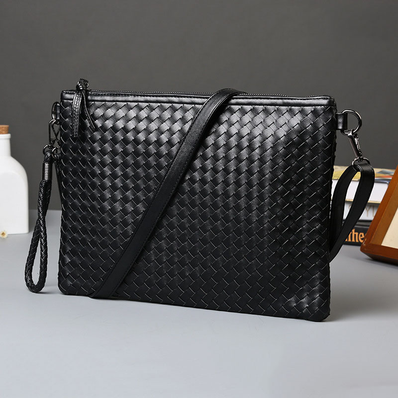Men Leather Business Work Handbag 2020 New Fashion Male Solid Color Envelope Bag Weave Leather Briefcase
