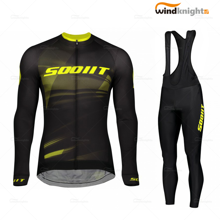 2020 Cycling Clothing Jersey Kits Mens Long Sleeve Clothes Set Scottes Team MTB Maillot Ropa Ciclismo Bib Pants Spring/Autumn