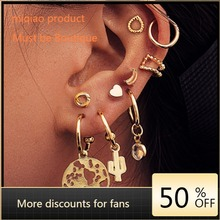 цена на Creative Personality Map Cactus Love Ear Stud Suit 9 1 Pair 2020 of The New Clip-on Earrings Earrings for Women