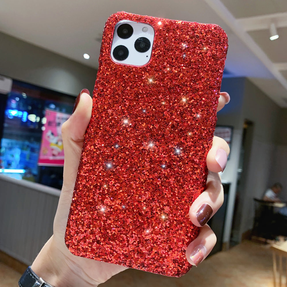 H1686e889e40c4fcc8dc395c67041123b6 - LAPOPNUT Luxury Sparkle Glitter Phone Case for IPhone 11 Pro XS X Xr Xs Max 8 7 6 6s Plus SE Christmas Sequins Slim Cover
