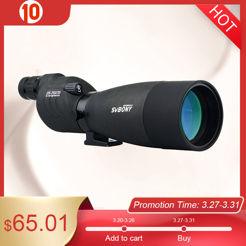 SVBONY SV17 Spotting Scope 25-75x70mm Zoom Telescope Waterproof High Definition Birdwatching Archery Hunting Shooting F9326A