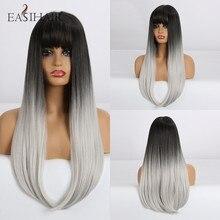 EASIHAIR uzun düz siyah sentetik peruk patlama ile doğal peruk kadınlar için yüksek sıcaklık Fiber Cosplay peruk isıya dayanıklı