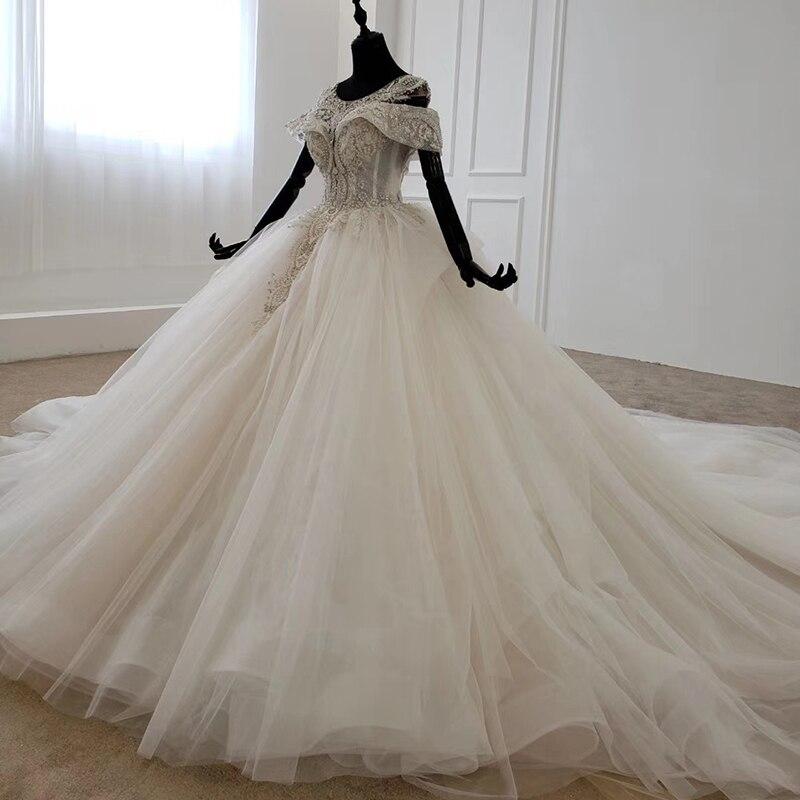 Image 3 - HTL1144 ball gown wedding dress boho boho plus size o neck lace up back corset bridal dress cap sleeve bead vestdos de noviaWedding Dresses   -