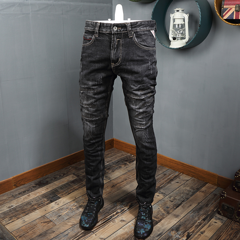 Italian Style Fashion Men Jeans Black Gray Embroidery Ripped Slim Jeans Men Streetwear Patchwork Designer Hip Hop Jeans Homme