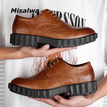 Misalwa Derby Mens Shoes Height Increase Leather New Black/Brown Elevator Classic Dress Shoes Brogue Formal Oxford Shoes 37-44 vikeduo brown italy derby shoes patina brogue handmade office dress shoes mens footwear wedding business leather shoes zapatos