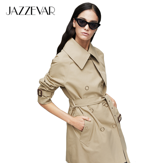 JAZZEVAR 2019 New arrival autumn trench coat women double breasted new high quality hooded medium length women fashion coat 9025