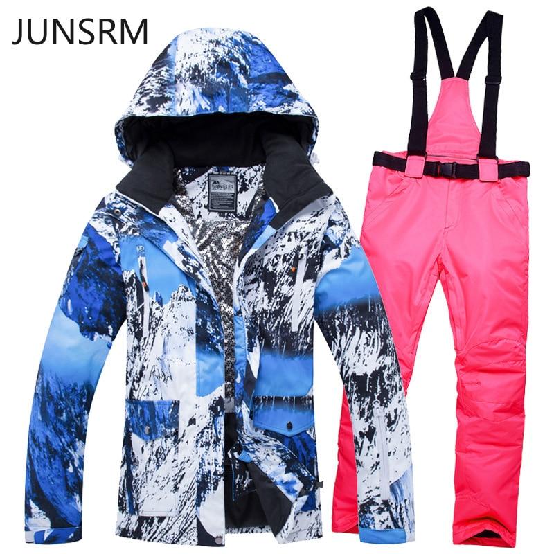 Ski suit set new men women waterproof warm breathable ski pants single double board Unisex  snow clothes