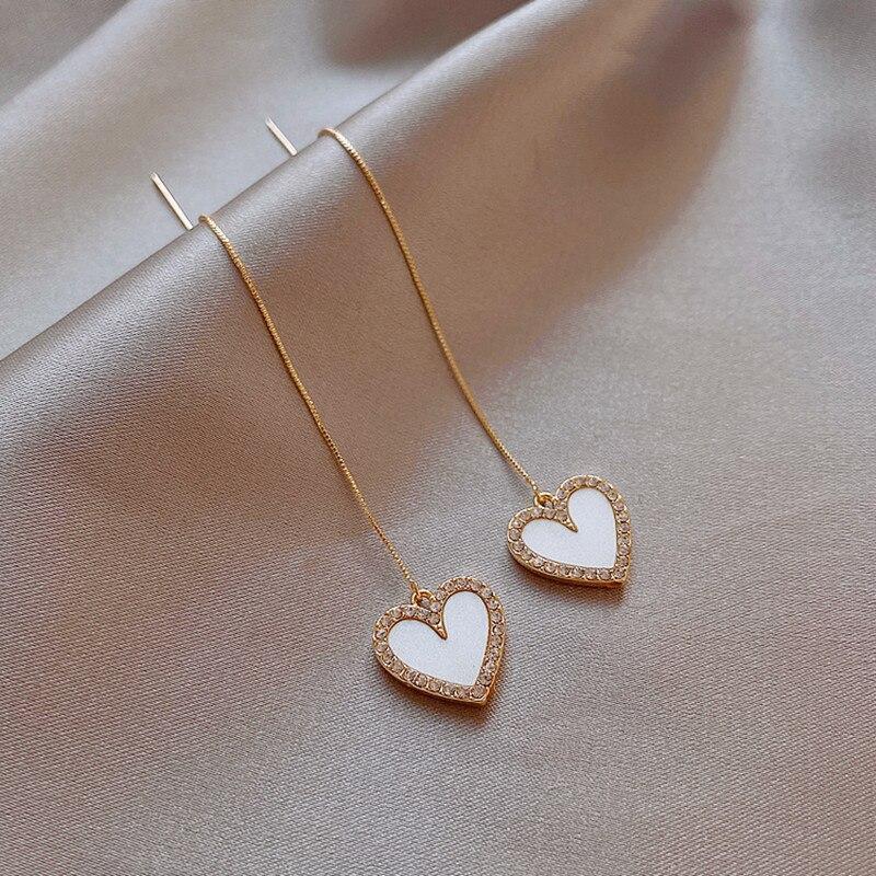 2020 New Contracted Long Metal Tassel Drop Earrings Classic Style Crystal Heart Sweet Women Earrings