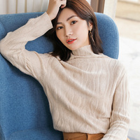 Smpevrg new pure cashmere sweater women sweater and pullover long sleeve turtleneck female pullover women knitted pull femme top
