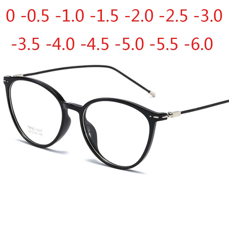 Cat Eye Finished Myopia Glasses Women Men Round Frame Thin Legs Short Sight Spectacles Diopter -1.0 -1.5 -2.0 -2.5 -3.0 To -6.0