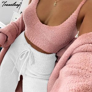 Autumn Three Piece Set Outfits Sexy Crop Tops Women Outfits Matching Sets Top And Shorts Lounge Home Wear Pijama Oversize Winter