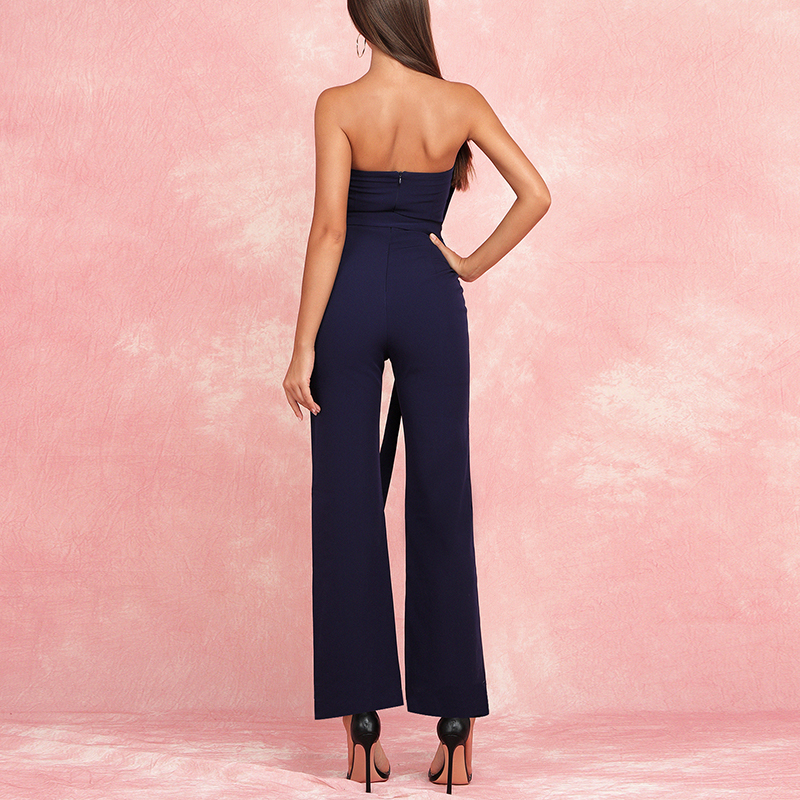 Max Spri 2019 New Collections Sexy Strapless With Sash Buckle Pantsuit Women Fashion High Waist Office Lady Jumpsuit Dark Blue in Jumpsuits from Women 39 s Clothing