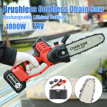 21V 1800W Brushless Cordless Electric ChainSaw Portable Pruning saw Wood Cutter Wood Tools Garden Power Tools For Makita Battery