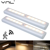 Sensor de movimiento de luz LED para debajo de gabinete, luces LED magnéticas con batería AAA para cocina, armario, luz de noche de dormitorio, 10LED