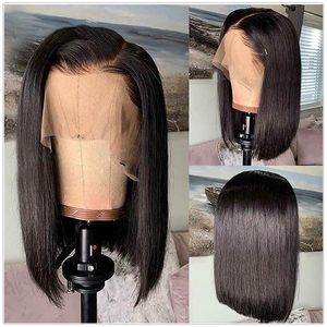 Image 4 - Satai Bob ウィッグショートウィッグブラックレースフロント人毛ウィッグ事前摘み取らヘアラインレースのかつら黒人女性マレーシアの Remy 髪