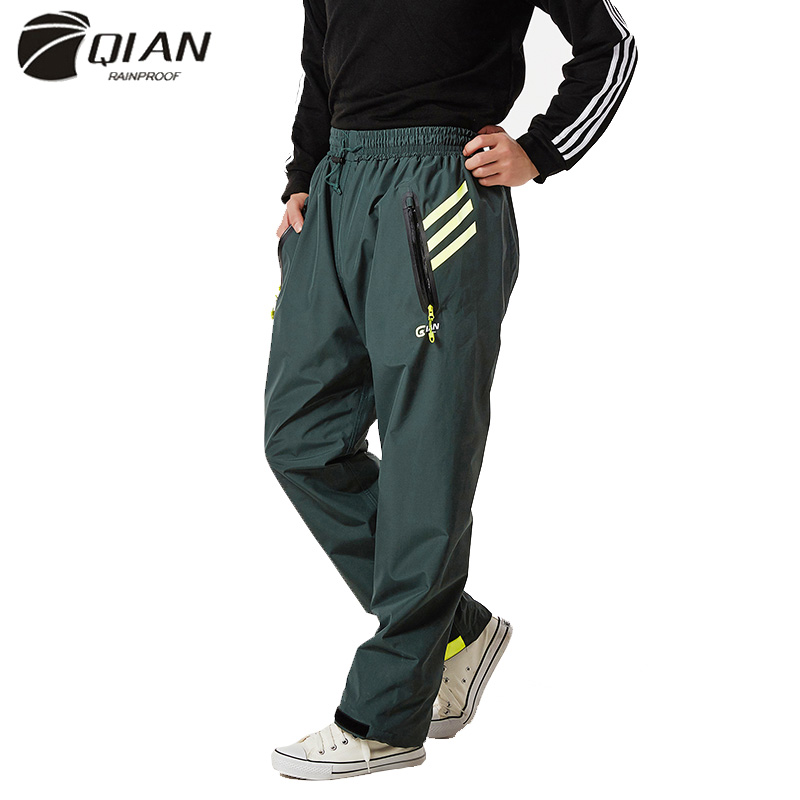 QIAN-Pantalones impermeables para hombre y mujer, impermeables, para exteriores, gruesos, para lluvia, para motocicleta, pesca, Camping