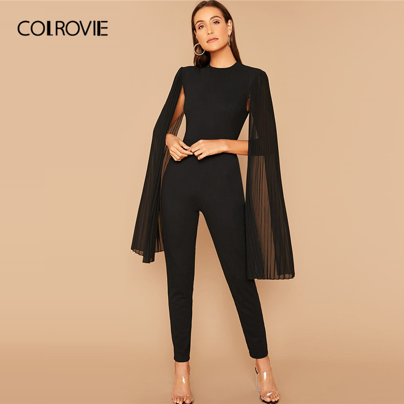 COLROVIE Solid Pleated Cape Jumpsuit Black Elegant Women 2019 Autumn Glamorous High Waist Cloak Sleeve Tapered Long Jumpsuits