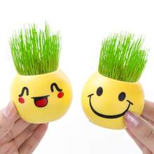 2536 Office Mini Long Grass Doll Toothed Burclover Doll Negative Ion Potted Plant Desktop Ornaments Gift Toy Sleeves(China)