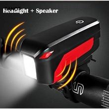 цена на Bicycle  bell horn bicycle light headlights 2 in 1 lamp 350 lumens 140 decibel waterproof lamp + horn bicycle accessories