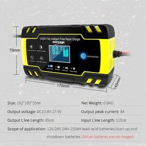 12V-24V 8A Volle Automatische Batterie-ladegeräte Digital LCD Display Auto Batterie Ladegeräte Power Puls Reparatur ladegeräte Nass Trocken Blei Säure