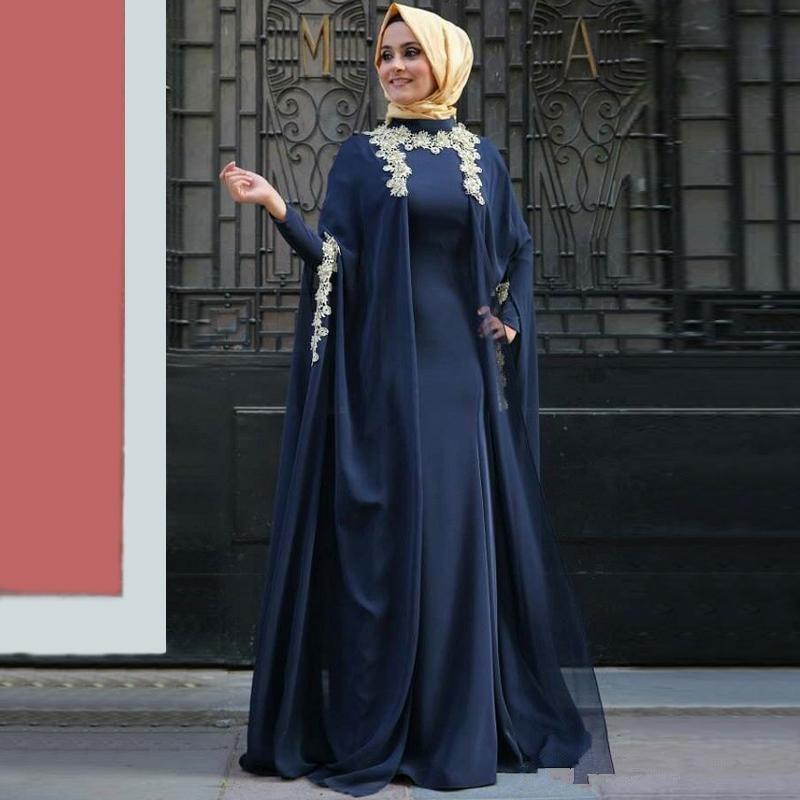 Blue 2019 Muslim   Evening     Dresses   A-line High Collar Long Sleeves Chiffon Lace Hijab Dubai Saudi Arabic Long   Evening   Gown Prom