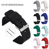 14mm 16mm 18mm 20mm 22mm 24mm Silicone Band Strap Quick Release Watchband Bracelet for Samsung Active 2 Huami Huawei Smart Watch 1