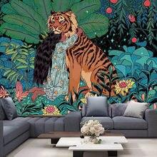 虎と女の子タペストリー曼荼羅タペストリー壁掛け自由奔放に生きる装飾マクラメヒッピー魔術タペストリー