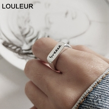 LouLeur 925 sterling silver letter breeze open rings square glossy simple element design trendy for women jewelry