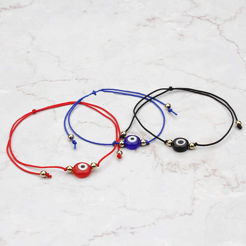 1 Pc Hot Selling Lucky Evil Eye Charms Zwart Blauw Rood Touw String Armband Voor Vrouwen Mannen Sieraden