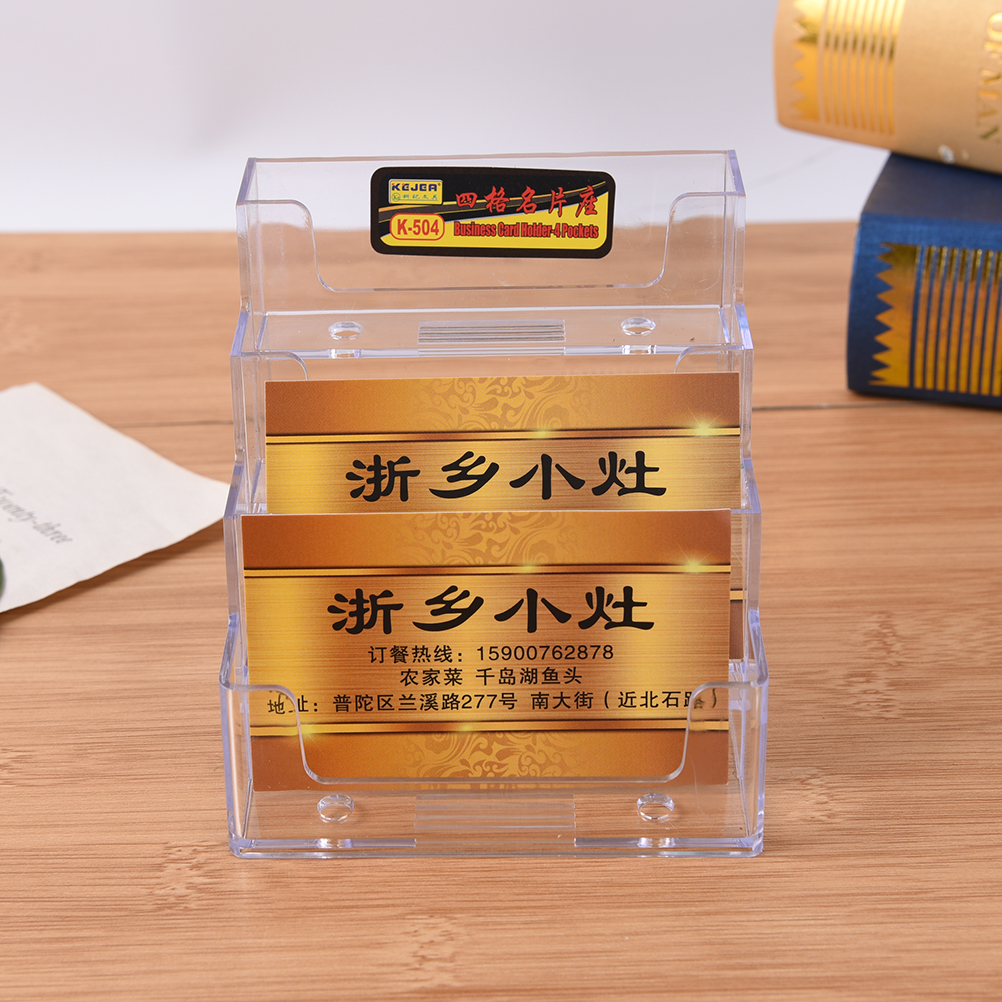 High Quality Four Pockets Clear Desktop Office Counter Acrylic Business Card Holder Stand Display Fit For Office School