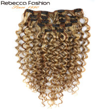 Rebecca Hair 7Pcs/Set 120g Jerry Curly Remy Clip In Human Hair Extensions Full Head 12-24 Inch Color #1B #613 #27/613 #6/613
