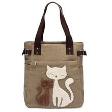 Lovely Cute Cat Canvas Handbag for Girls Ladies Large Capacity Casual Bag Women Portable Solid Zipper Shoulder Bag Bolsos Mujer