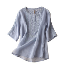 Ramie Patchwork Lace Office Lady Blouse Women Half Sleeve Blouses Mujer De Moda 2020 Verano summer tops for women elegant