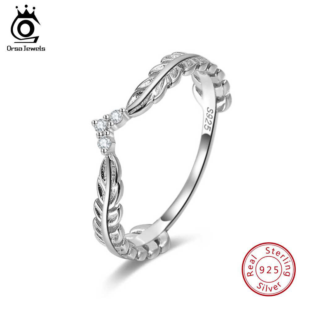 ORSA JEWELS Genuine 925 Sterling Silver Rings For Female Olive Wreath Shape Perfect Polished Women Romantic Ring Jewelry SR121