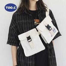 Double pockets Waist Bag Unisex Canvas Big Fanny Packs Streetwear Chest Bags Banana Waist Packs Outdoor Function Crossbody Bag