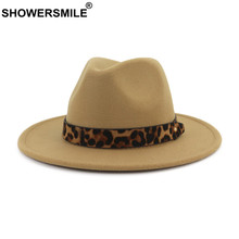 SHOWERSMILE Khaki Fedoras Hats For Women Woolen Felt Trilby Hat Ladies Leopard Female Autumn Winter Retro Pork Pie Hat(China)