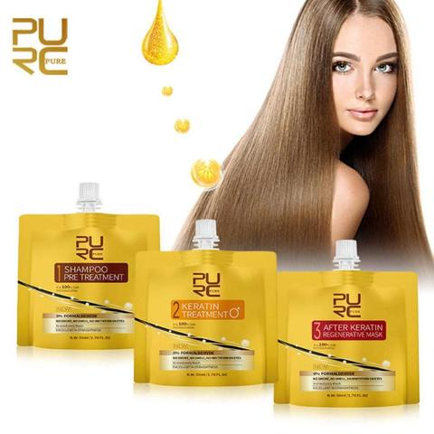 PURC Keratin Hair Treatment Set Oil No Irritation No Irritation No Smoke Repair Straighten Damage Hair Care 3 Steps Lahore