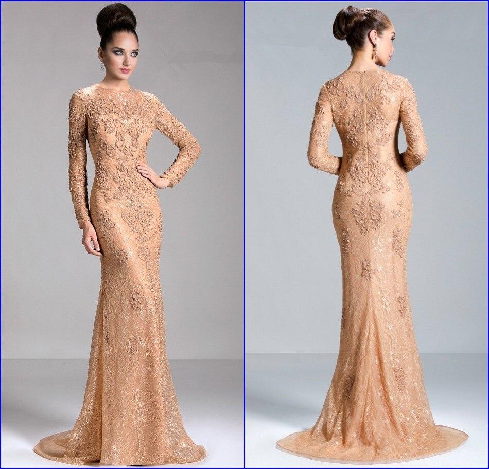 Gorgeous Vestido De Renda Hot Sale 2015 Crew Applique Beaded Lace Mother Of The Bride Dresses Long Sleeve Formal Evening Dress