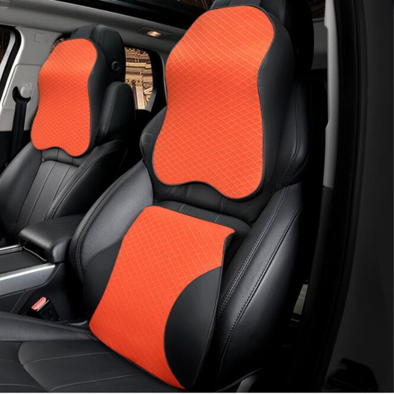 2Pcs Car Headrest PU Leather Pillows Head Neck Rest Cushion Support Seat Acces