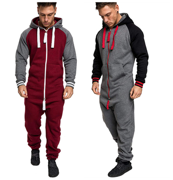 Casual Tracksuit Jumpsuit Mens Patchwork Overalls Sweatshirt Hoodies Siamese Trousers Romper Man Oversized Sweatsuit Clothing