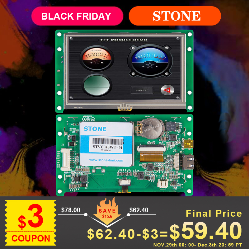 """4.3"""" Display LCD Touch Panel + Controller + Driver + Program Support Any MCU/ PIC/ ARM 100PCS"""