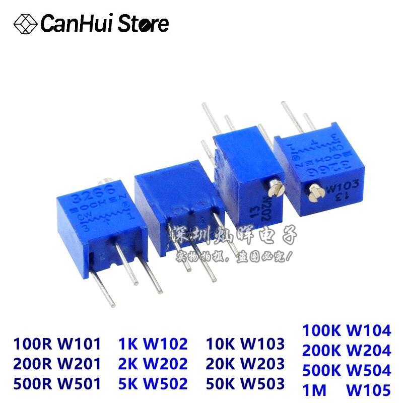 10 Stks X 3266 W 1 K 2 K 5 K 10 K 20 K 50 K 100 K 200 K 500 K 1 M 100R 200R 500R Trimmer Potentiometer