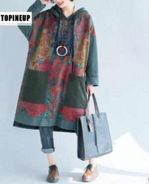 Top qualité doux respirant pur coton lin lâche Robe Robe femme Style décontracté belle impression Dresse ys004