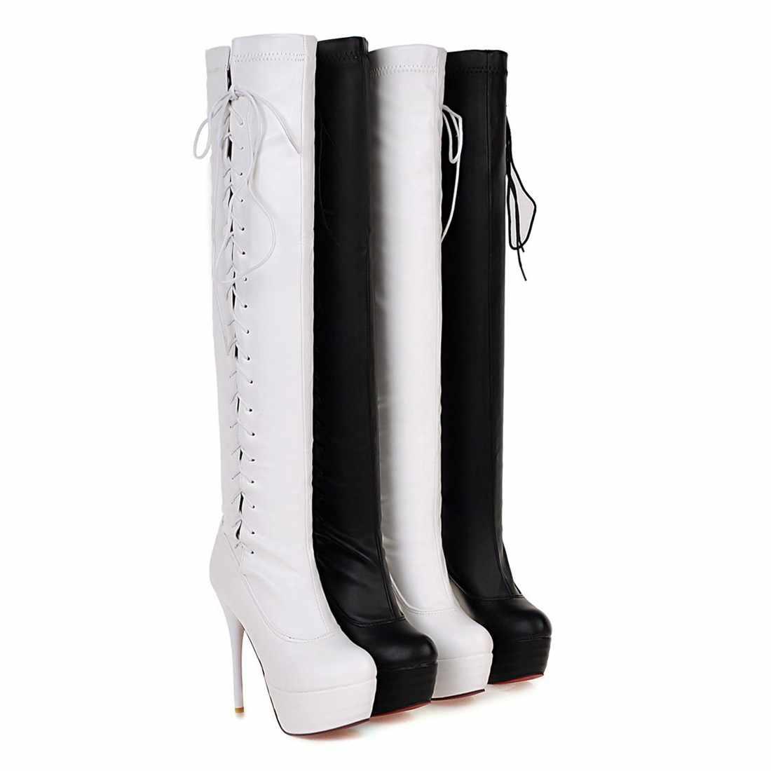 BONJOMARISA nueva otoño 33-46 Sexy botas altas del muslo de fiesta mujeres 2019 atado sobre la rodilla botas súper delgadas zapatos de tacón alto para mujer