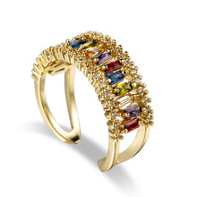 Fashion Gold Mona Lisa Ring Adjustable Ring Unique Neutral Design AAA Colorful Cubic Zircon Ring Luxury Wedding Jewelry charm new fashion unique design rose gold color ring for female wedding with aaa colorful cubic zircon christmas ring