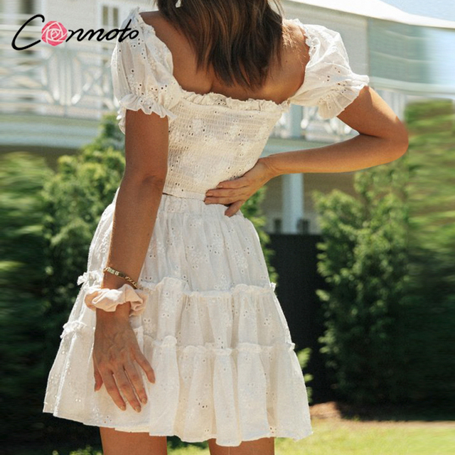 Conmoto Roman holiday style two pieces ruffled women set summer Romantic puff sleeve top and embroidery skirt Bow sash slim suit 4