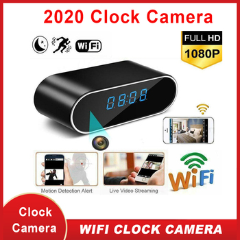 WiFi Table Clock Mini Camera 1080P HD IP P2P DVR Camcorder Alarm Set Night Vision Motion Sensor Remote Monitor Micro Cam mini camera 1080 full hd clock alarm night vision motion detection wifi ip cam dv dvr camcorder home security surveillance hot