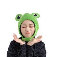 Gorros novedosos y divertidos ojos de rana grandes, sombrero de felpa de dibujos animados, sombrero de juguete verde completo, sombrero, Cosplay, disfraz de fiesta, utillaje para fotos